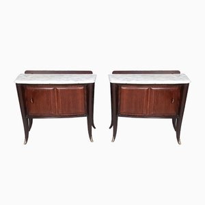 Mahogany Nightstands with Marble Top from Dassi, 1950s, Set of 2