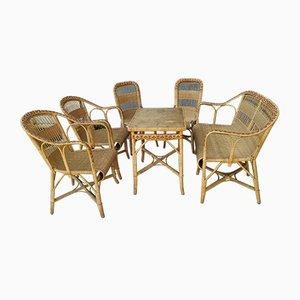 Vintage Gartenstühle aus Rattan, 1930er, 6er Set