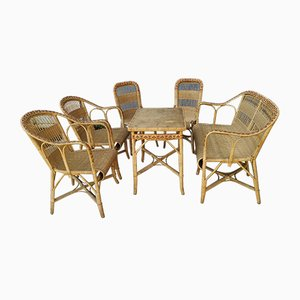 Vintage Rattan Garden Chairs, 1930s, Set of 6