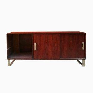 Mid-Century Italian Rosewood and Steel Sideboard with Sliding Doors, 1960s