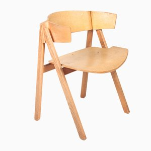 Danish Ash and Cork Trestle Side Chairs by Bernt Petersen, 1970s, Set of 6
