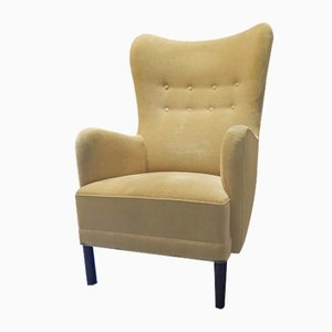 Mid-Century Danish WIngback Armchair in the Style of Fritz Hansen