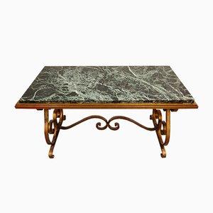 Tavolino da caffè in ferro battuto e marmo, anni '50