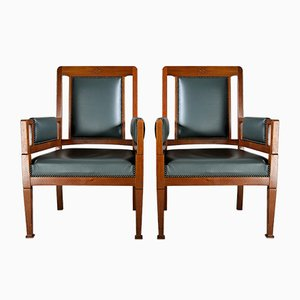Art Nouveau Green and Brown Armchairs from H. Pander & Zn., Set of 2