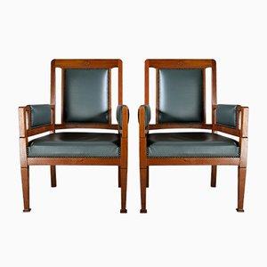 Jugendstil Sessel in Grün & Braun von H. Pander & Zn., 2er Set