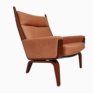 Danish Mahogany & Leather GE501A Armchair by Hans J. Wegner for Getama, 1970s