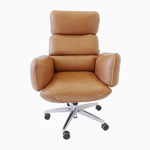 Mid-Century Leather Swivel Chair by Otto Zapf for Topstar