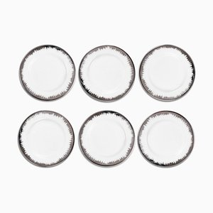 Eclipse Platinum Dessert Plates by Stories of Italy, Set of 6