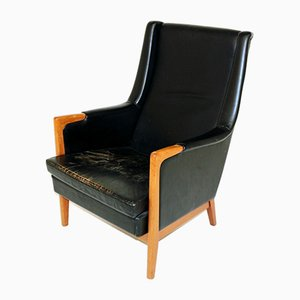 Swedish Patinated Leather Lounge Chair, 1960s