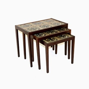 Swedish Rosewood and Ceramic Nesting Tables, 1960s