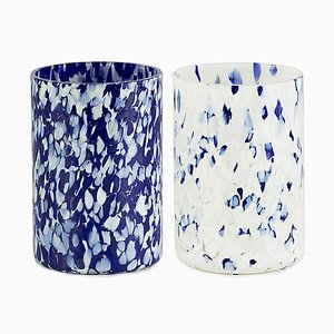 Macchia Su Macchia Blue & Ivory Mix Glasses by Stories of Italy, Set of 2
