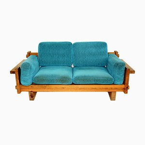 Swedish Pinewood 2-Seater Sofa, 1970s