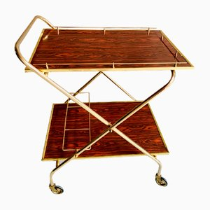 Hollywood Regency Style French Gold Tubular Aluminum Serving Bar Cart, 1960s