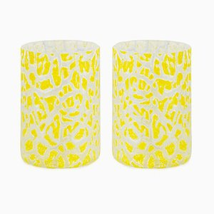 Cracklè Lemon Glasses by Stories of Italy, Set of 2