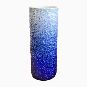 Textured Blue and White Cylinder Vase from Hutschenreuther, 1960s