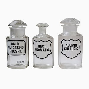 Large Antique Apothecary Jars, 1900s, Set of 3