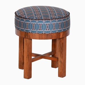 Art Deco Walnut & Fabric Stool, Czechoslovakia, 1930s