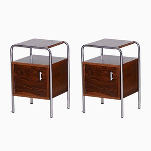 Bauhaus Walnut Bedside Tables from Slezak, Czechoslovakia, 1930s, Set of 2