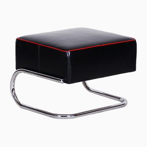 Modernist Tubular, Black Leather & Chrome-Plated Steel Stool from Slezak, 1930s