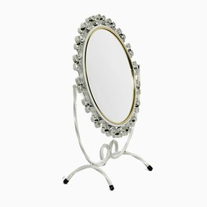 Mid-Century Metal White Metal Swivel Table Mirror, 1950s