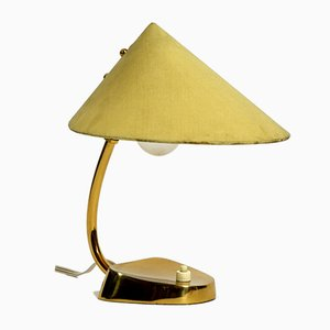 Mid-Century Brass Table Lamp with Fabric Shade from Kalmar Franken KG, Austria, 1950s