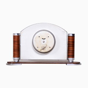 French Art Deco High Gloss Walnut Table Clock, 1930s