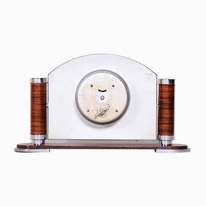 French Art Deco High Gloss Walnut Table Clock, 1930s