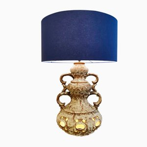 Mid-Century Ceramic Table Lamp with Lampshade in Blue