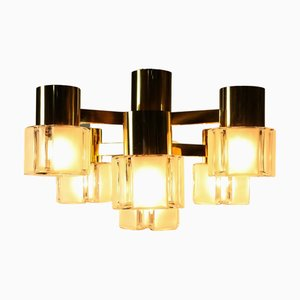 Mid-Century Brass and Glass 7-Light Ceiling Lamp