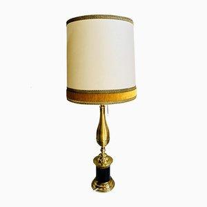 Vintage Brass & Velvet Table Lamp by S. T. Valenti for Valenti, 1970s