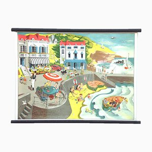 Mid-Century Beach Scene School Poster by Elizabeth Skilton for General Service English Wall Pictures