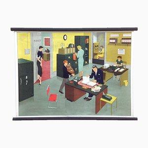 Affiche Educative Vie de Bureau Mid-Century par Elizabeth Skilton pour General Service English Wall Pictures