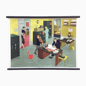 Mid-Century Office Life School Poster by Elizabeth Skilton for General Service English Wall Pictures