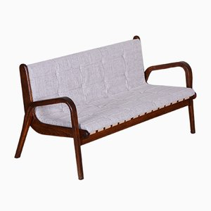 Mid-Century Czech Brown Beech Sofa by Jan Vaněk, 1950s