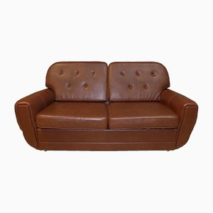 Vintage Striped Leatherette 2-Seater Convertible Sofa