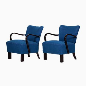 Czech Art Deco Blue Beech Armchairs by Jindřich Halabala for UP Závody, 1930s, Set of 2