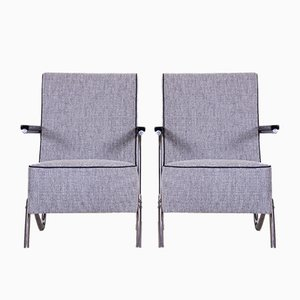 Grey Tubular Chrome & Upholstery Armchairs, 1930s, Set of 2