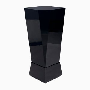 Cucist High Gloss Black Pedestal, Czechoslovakia, 1970s