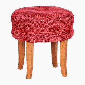 Mid-Century Czech Red Beech Stool, 1950s