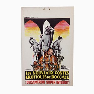 Mid-Century Erotic Movie Poster Le Decameron Super Interdit