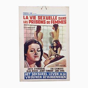 Mid-Century Erotic Movie Poster Het Sexueel Leven in de Vrouwen Gevangenis