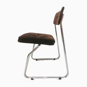 Steelcase Chrome & Brown Cantilever Dining Chairs, 1970s, Set of 4