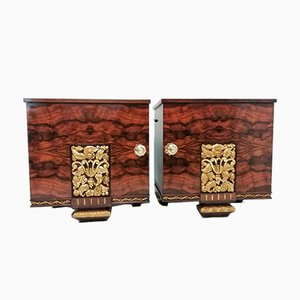 Vintage Mahogany & Gold-Leaf Floral Carving Nightstands, Set of 2
