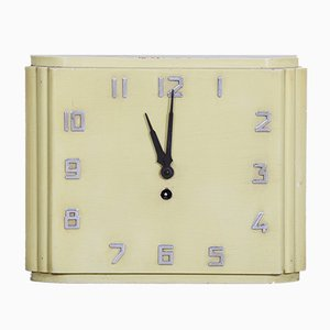 Mid-Century Bauhaus Lacquered Wood Wall Clock, 1930s