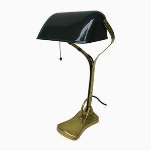 Antike Jugendstil Bankier Lampe aus emailliertem Messing mit dunkelgrünem Schirm