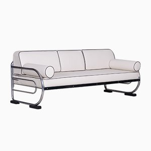 Bauhaus White Tubular Chromed Steel Sofa from Robert Slezák, 1930s