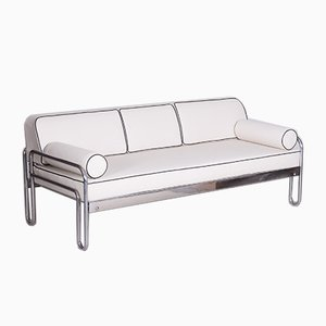 Bauhaus White Tubular Chrome Sofa by Thonet for Robert Slezák, 1930s
