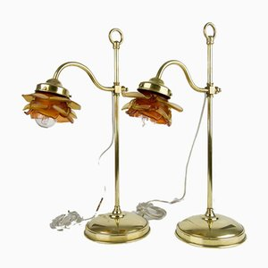 Brass and Floral-Shaped Frosted Glass Table Lamps, 1930s, Set of 2