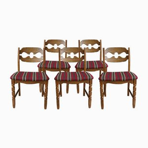 Mid-Century Oak Razorblade Dining Chairs by Henning Kjærnulf for Eg Møbler, Set of 5