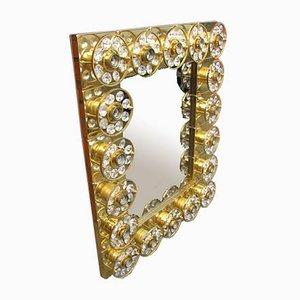 Specchio vintage in cristallo con luce, anni '70